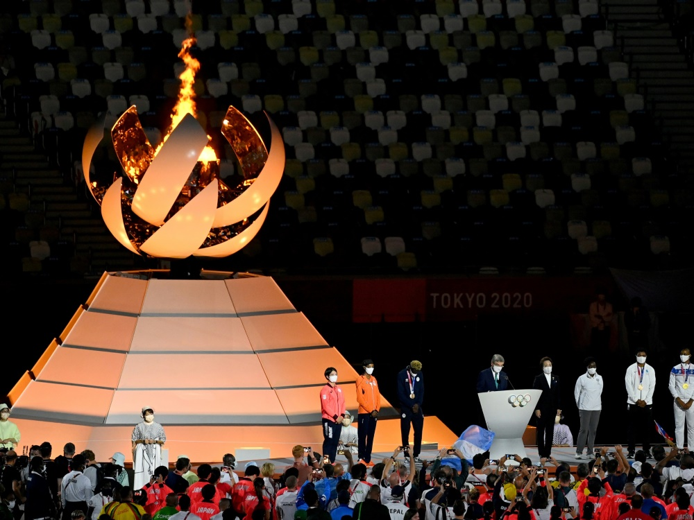 Die Abschlusszeremonie der Olympischen Spiele in Tokio (© AFP/AFP/Tauseef MUSTAFA)